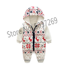 купить Baby Winter Christmas Romper Newborn Thick Cotton Clothes Baby Girl Warm Rompers Infant Soft Zipper Outerwear Baby Boy Xmas Gift по цене 1296.76 рублей