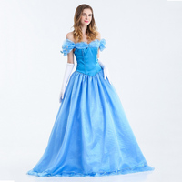 Cenicienta princesa dress de las mujeres adultas azul cenicienta cosplay halloween party wedding dress nuevo incluye el bullicio