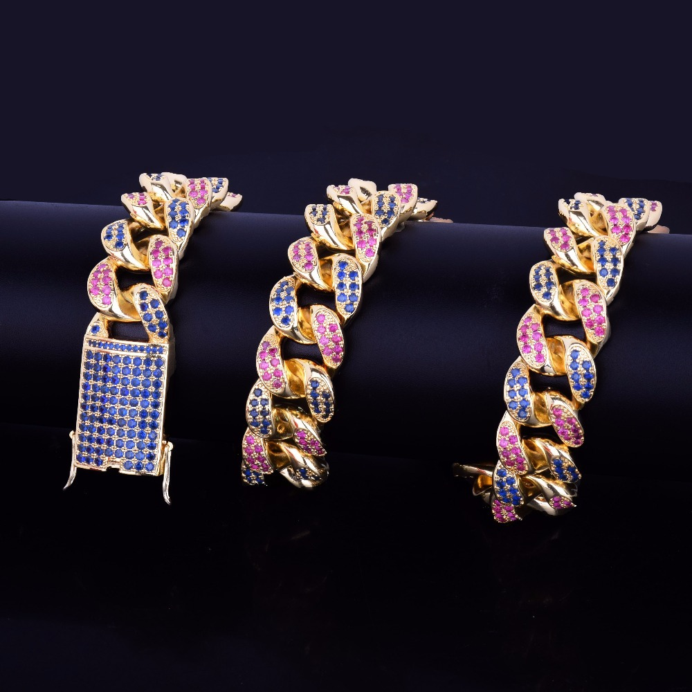 16 28 20mm Hip Hop Bling Iced Out Pink Blue CZ Stone Paved Gold Miami Cuban