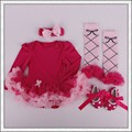 4 Unids por Juego Infantil Trajes Solid Red Baby Girls Manga Larga Tutu Dress con Banda de Sujeción Zapatos Polainas para 0-12months Envío gratis