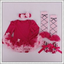 4PCs per Set Infant Outfits Solid Red Baby Girls Long Sleeves Tutu Dress Headband Shoes Leggings for 0-12months Free Shipping