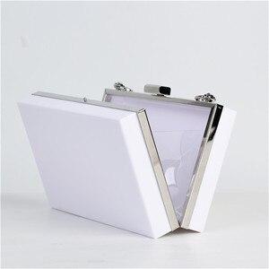 Image 5 - 2020 nouvelle mode blanc acrylique femmes portefeuille pochette sacs à main boîte femme sacs de messager de mariage soirée chaîne embrayages sac à main