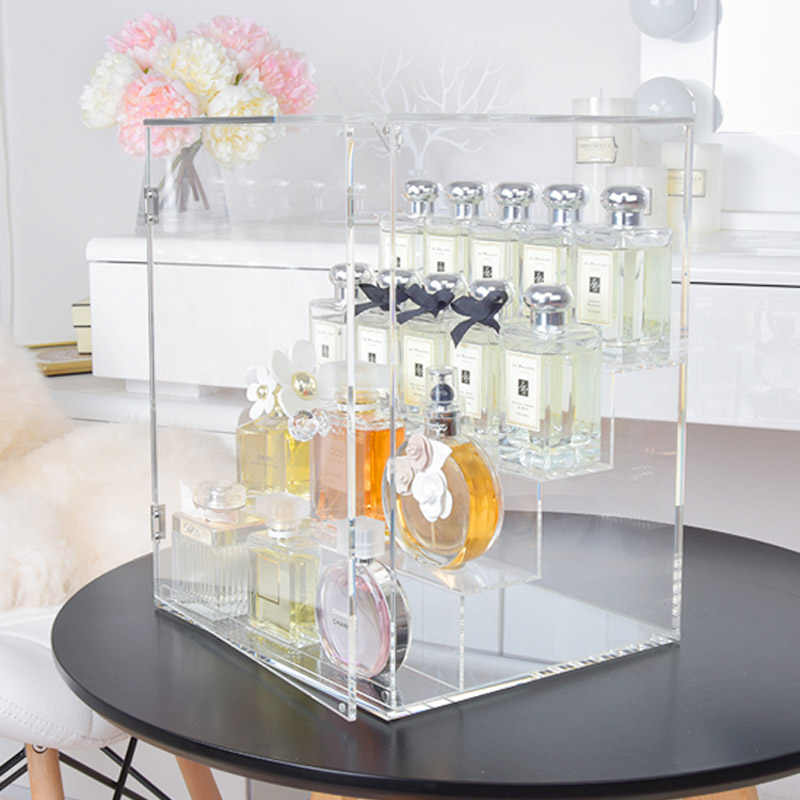 Large Stepped Door Perfume Display Rack Acrylic Skin Care Clear Desktop Storage Box 3/4 Tiers Makeup Organizer Jewelry Shelf
