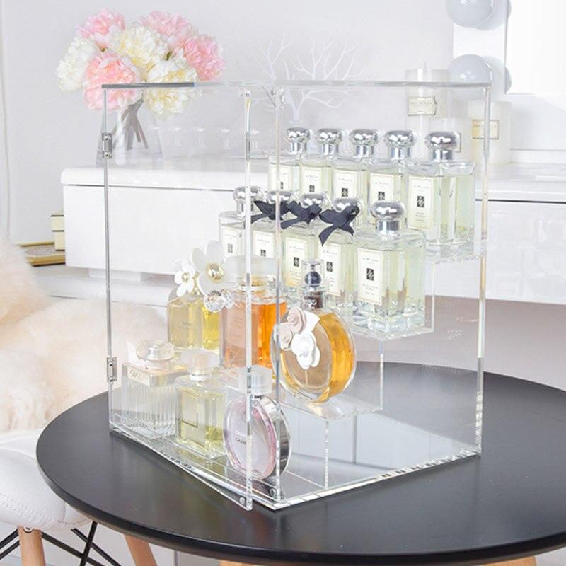 Duży wszedł drzwi perfum stojak na akrylowe do pielęgnacji skóry wyczyść pulpit pudełko do przechowywania 3/4 kondygnacje makijaż organizator biżuteria półka w Uchwyty i stojaki od Dom i ogród na  Grupa 1