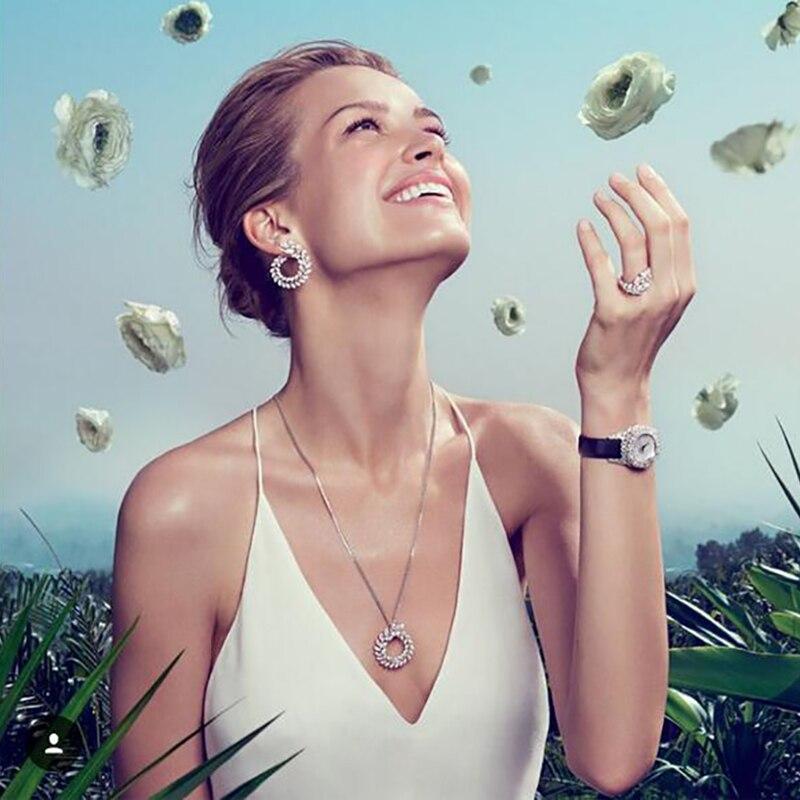 Lüks Marka Yeni Moda Zeytin Şekli AAA + Kübik Zirkon Saplama Küpe - Kostüm mücevherat - Fotoğraf 3