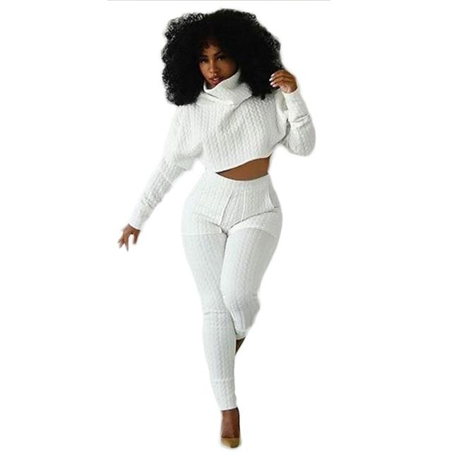 2015 Nuevo Estilo de Cuello de Tortuga Manga Larga de Dos piezas de Bodycon Mamelucos Womens Jumpsuit trajes Monos Blancos Camisa corta y Pantalones Largos