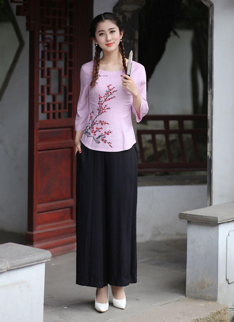 2 Tang Costume Xxl Vêtements 2618 3xl 2018 Lin En Printemps L M Femmes Xl Nouvelle Black Jupes S Chinois Ensembles Coton Mode Pink Fleurs Chemise wOB7HO