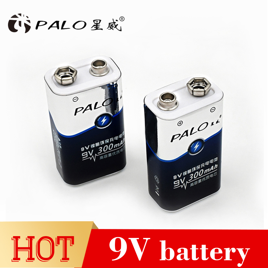 PALO 2pcs 9v battery parts bateria 6F22 Single-sex dry batteries ni mh 300mah 9v rechargeable battery for radio camera toys etc