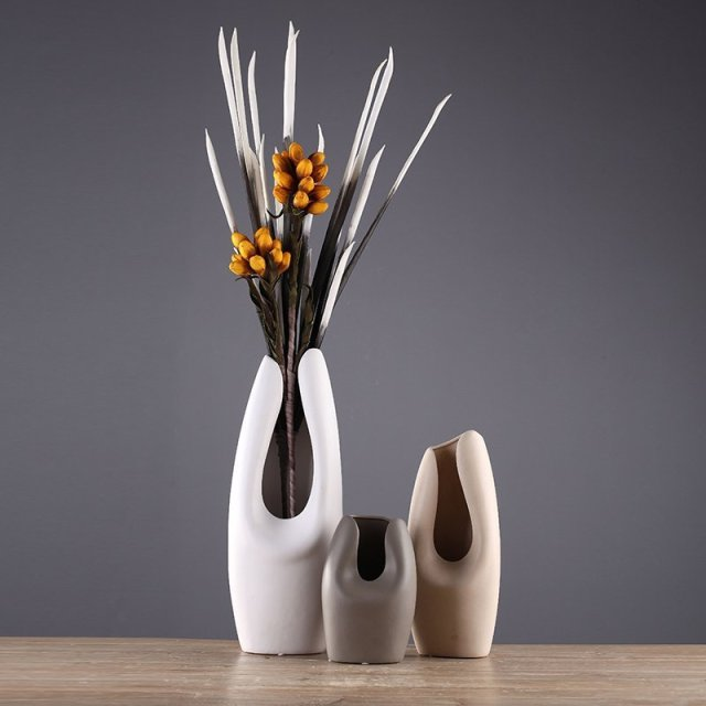 Simple Modern Ceramic Vase Set Restaurant Vase Nordic Style Hotel
