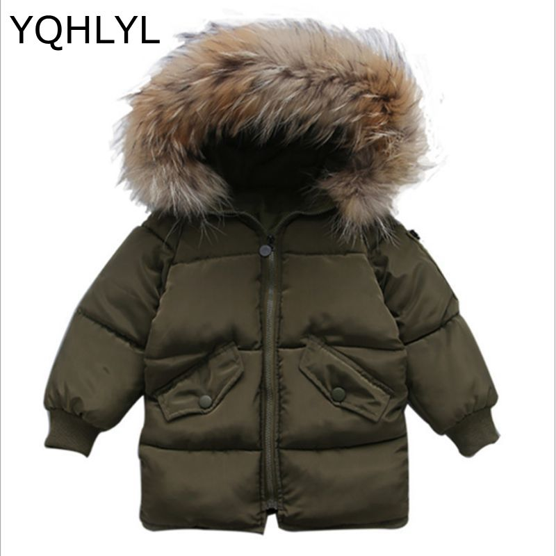 New Winter Fashion Girl Down Jacket 2017 Thick Warm Boys Parka Children Clothes Outerwear Fur Collar Hooded Kids Coat 3-13Y W17 winter girl jacket children parka winter coat duck long thick big fur hooded kids winter jacket girls outerwear for cold 30 c