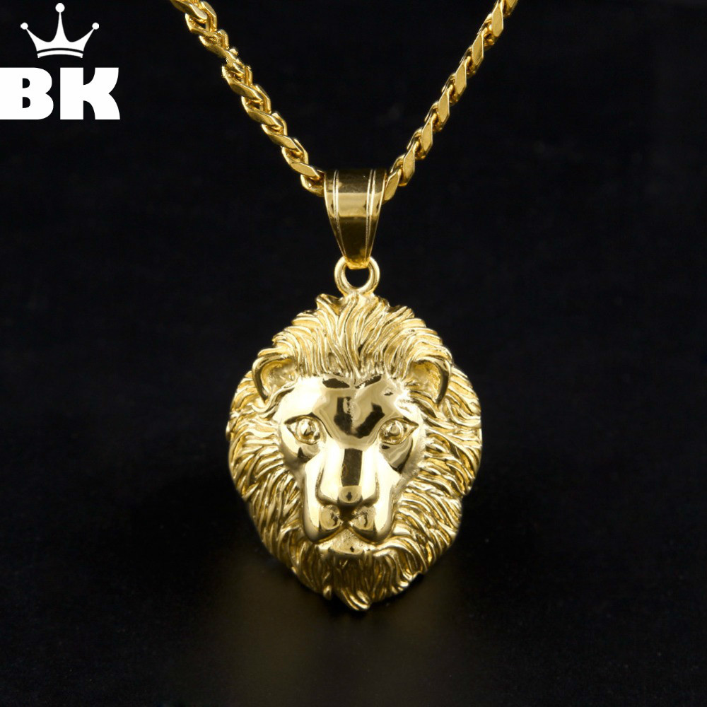 Aliexpress Com Buy Mens Hip Hop 24k Gold Color Lion Head