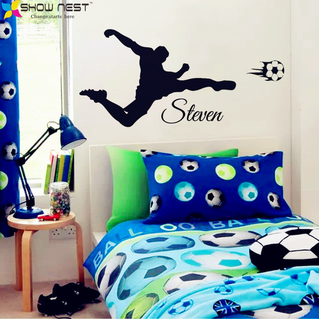 Football Wall Sticker Mural Decoration Customization Boy Names Stickers Home Decor Soccer Decals