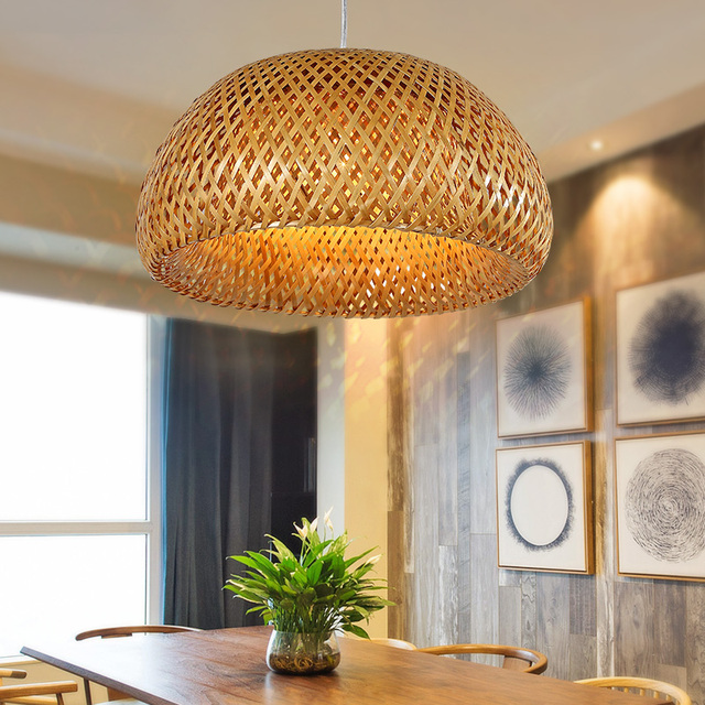 Bamboo Chandelier Southeast Lamp Asian Garden Restaurant Cafe Bar Balcony Creative Luminaire Modern Lights