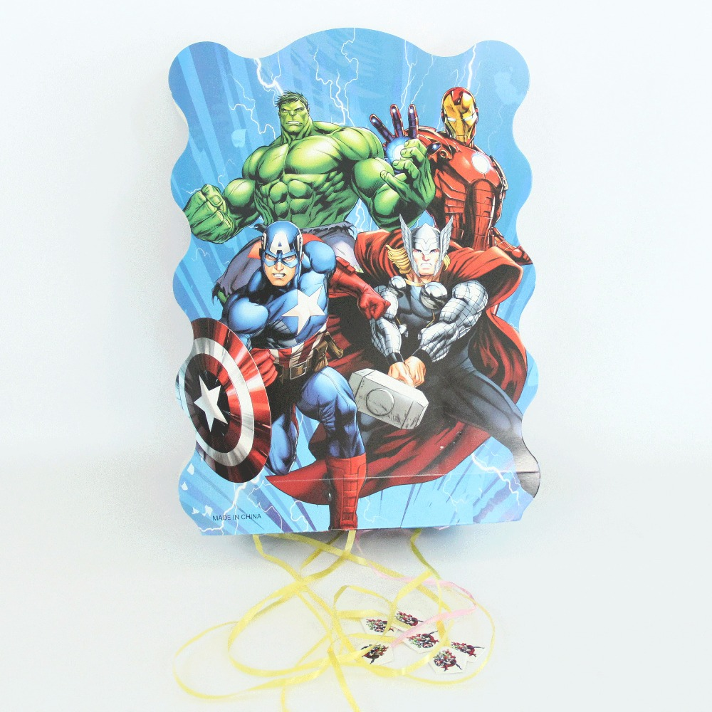 1pcs Cartoon The Avengers Paper Folding Pinata Cartoon 6 people play game Pinata Birthday Party Supplies Party Favors 40*30cm