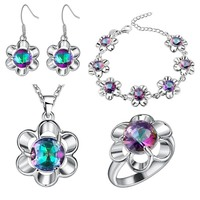bracelet Pendant necklace Earrings ring Thick silver set set of plum flower color set the foreign trade whole jewelry