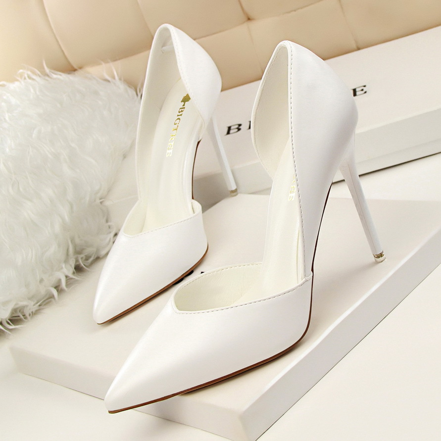 New Spring Autumn Women Pumps Sweet Classic High-heeled Wedding Shoes Thin Pink High Heel Shoes Hollow Pointed Stiletto Elegant siketu 2017 free shipping spring and autumn women shoes sex high heels shoes wedding shoes sweet lovely pumps g126