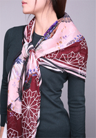 100%silk printed women boutique scarves shawl pashmina 130x130 spring summer new fashions $166 free shipping