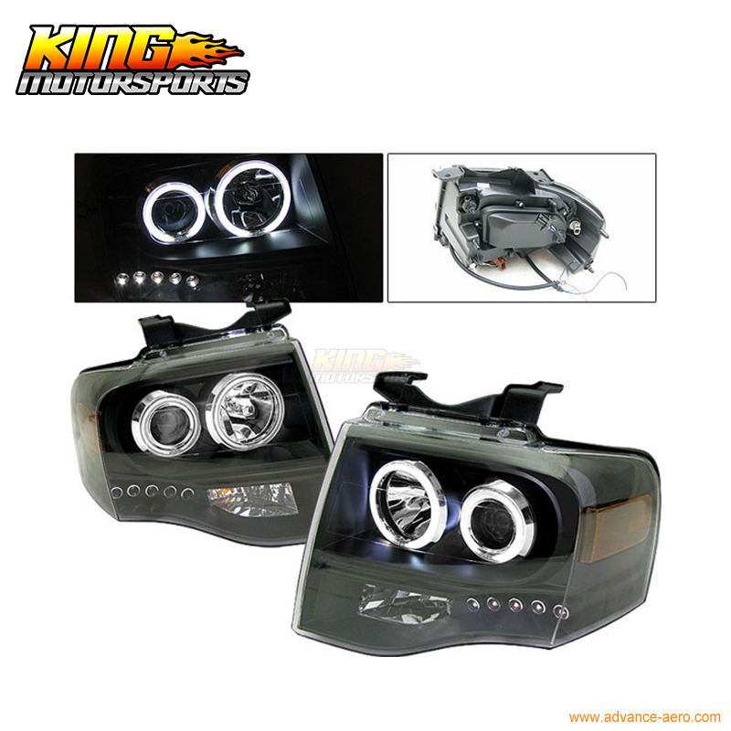 For 2007-2009 Ford Expedition CCFL Halo Projector Headlights BK USA Domestic Free Shipping for 2005 2008 bmw e90 e91 4dr wgn projector headlights halo ccfl 06 07 us domestic free shipping