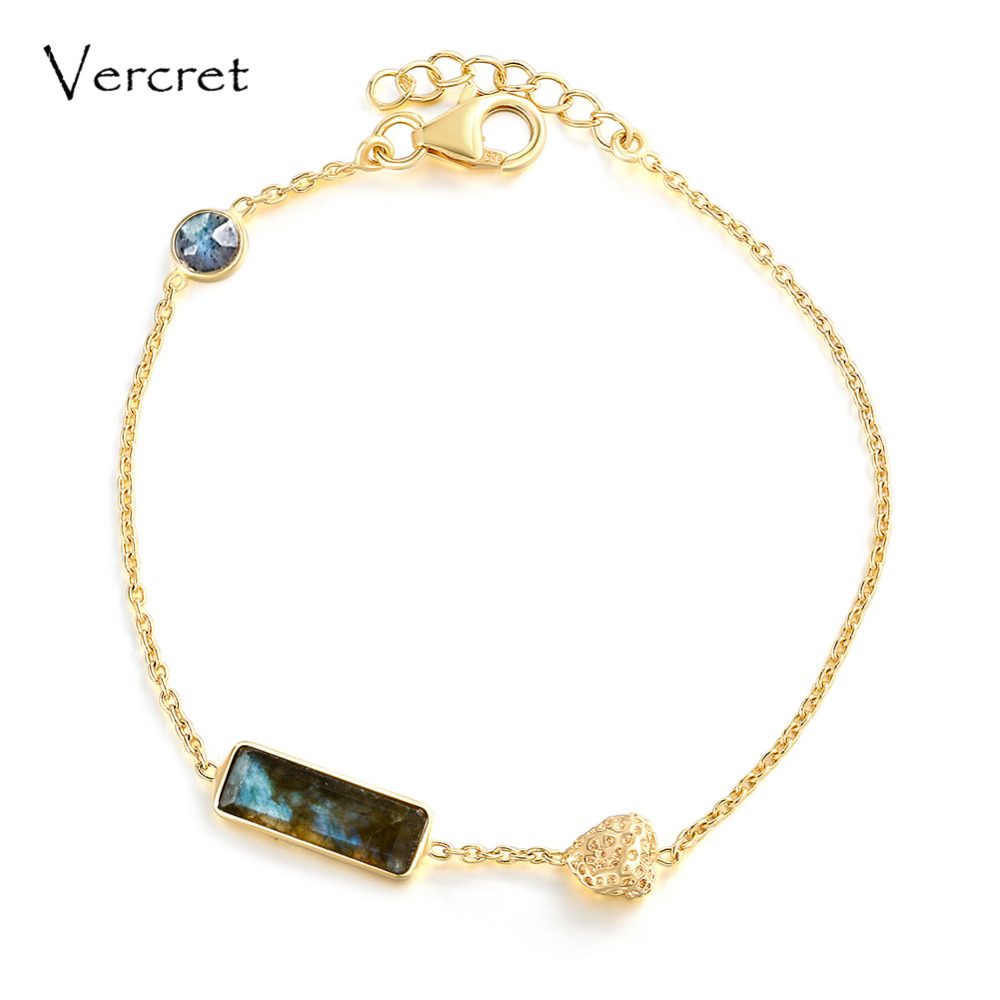 Vercret romantic heart design 18k gold 925 silver bracelets labradorite bracelet women jewelry for gifts