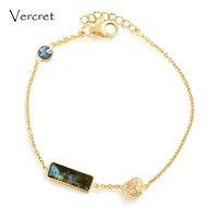 Vercret trái tim lãng mạn thiết kế 18 k vàng 925 vòng đeo tay bạc labradorit vòng đeo tay wpmen trang sức cho quà tặng sp