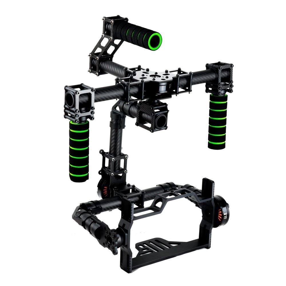 3 axes DSLR sans brosse cardan en Fiber de verre poignée monture de caméra DSLR 5D GH3 avec moteur pour la photographie FPV (avec le moteur)