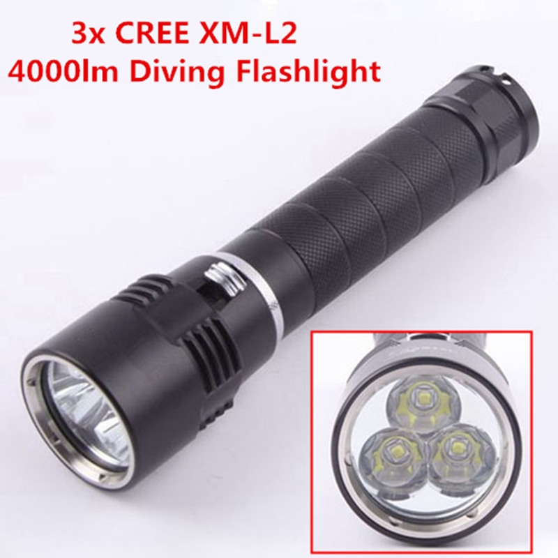 LusteFire DV-08 Diving Flashlight CREE 3x XM-L2 4000 Lumens LED Diving Torch Underwater 200m Waterproof diving 4000 lumens cree xm l2 led 3 l2 led t6 flashlight torch waterproof underwear lamp light super white light