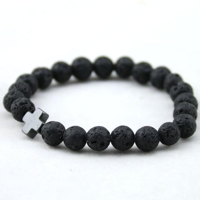 Unisex Lava Stone Style Beads Bracelet