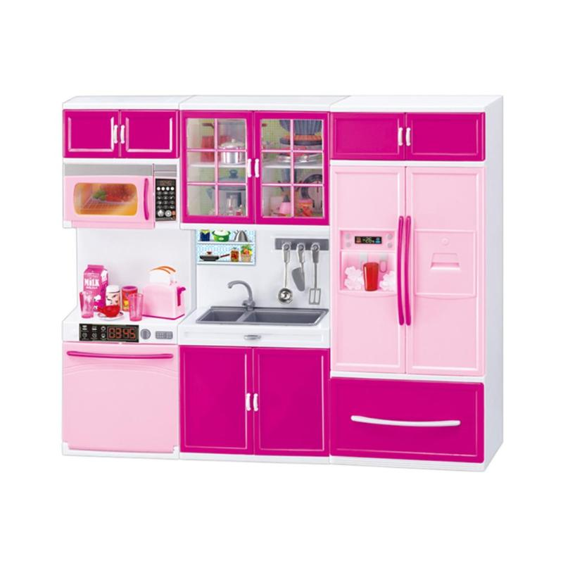 Kitchen Sound Light Cabinet Toys Cooking Pretend Play Dollhouse Kitchen Cabinets Set Education Toy Girls Gift
