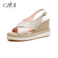CZRBT Big Size Women Sandals Genuine Leather Platform Women Pump Shoes Summer Open Toe Fish Mouth High Heels 8.5cm Wedge Sandals
