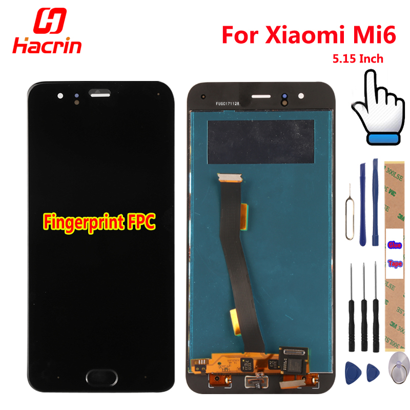 Xiaomi Mi 6 Mi6 LCD Display +Touch Screen+Finger Print FPC Digitizer Screen Glass Panel Assembly Replacement For Xiaomi MI6 MI 6