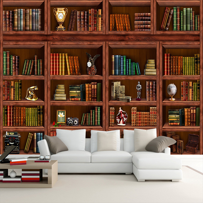 3d Bookcase Wallpaper Custom Photo Wallpaper 3d Stereo Bookshelf Mural Living