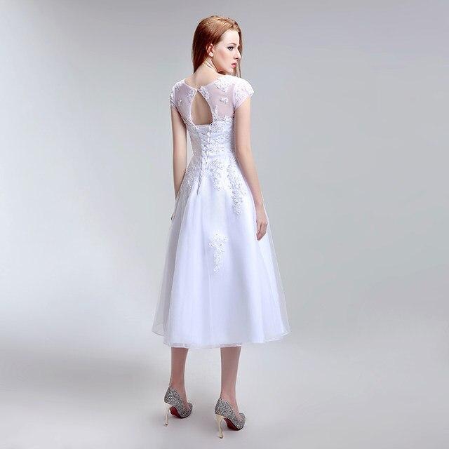 Online Shop Simple Tea Length Lace Appliques Wedding Dresses Tulle ...