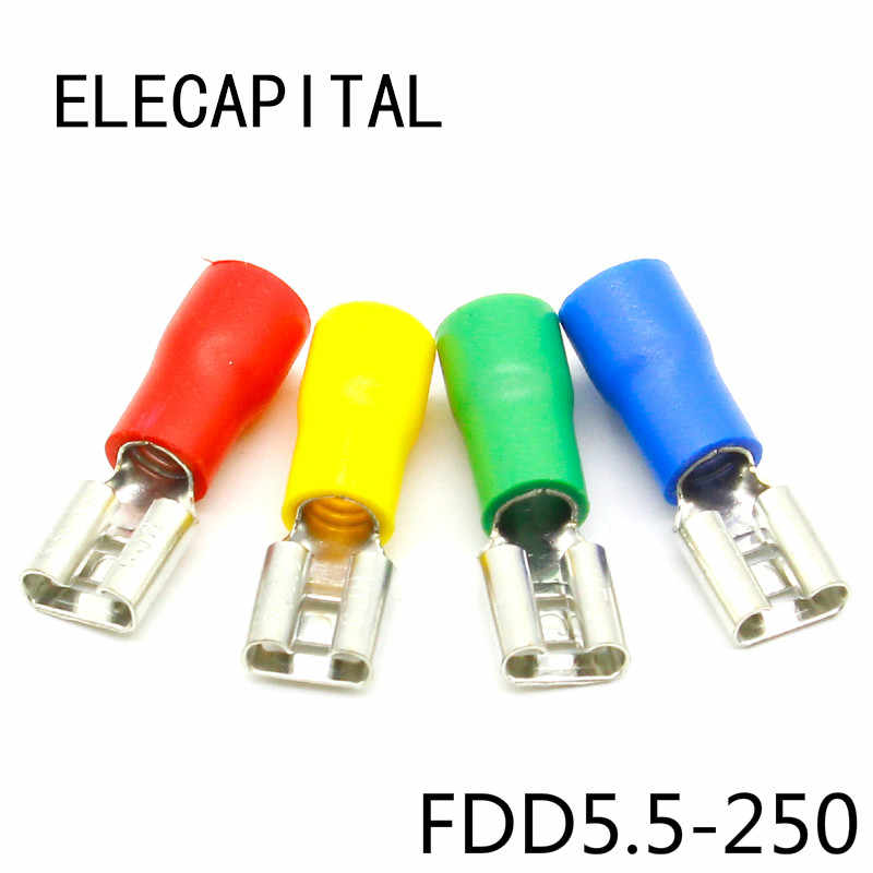 FDD5.5-250 Insulated Female Spade Connector 12-10AWG Crimp Terminal Yellow US