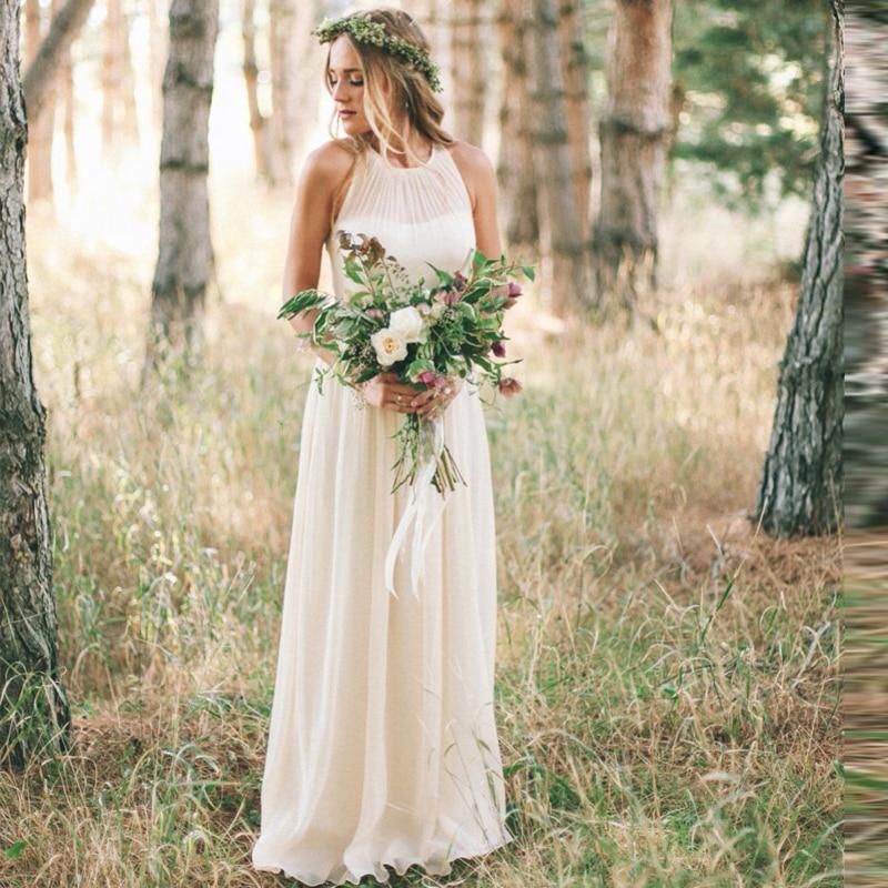 Country Style Bohemia Wedding Dress Beach Plus Size Chiffon Simple ...