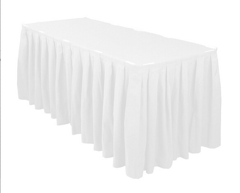 HK DHL Event Party Wedding 17 ft./500cm Accordion Pleat Polyester Rectangular Table Skirt Royal White, 5/Pack