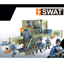 hot LegoINGlys military SWAT city Policemen base war Building Blocks Giant figures weapon gun model brick toys for children gift