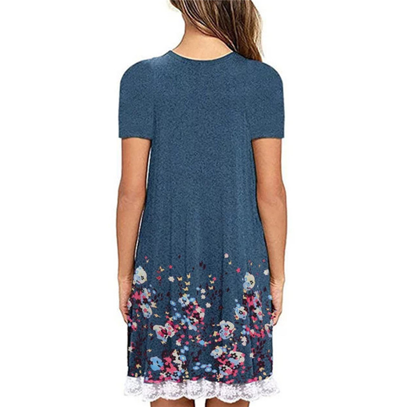 Floral Print Lace Patchwork Dress Women Summer 2019 Large Plus Big Size 5XL Casual T Shirt Dress Loose A Line Beach Dresses in Dresses from Women 39 s Clothing
