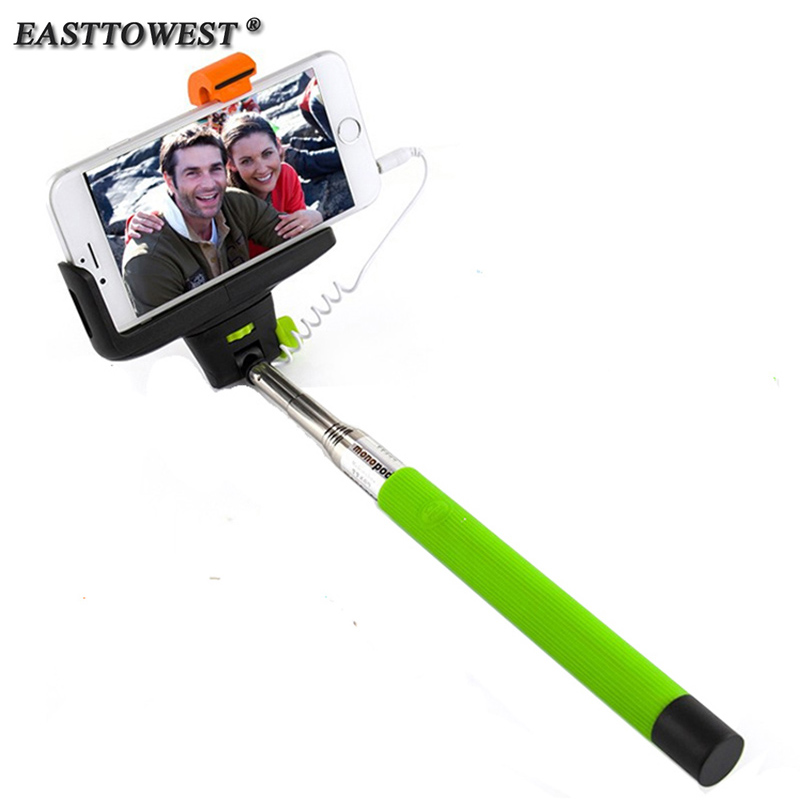 Christmas Gift! Original KJSTAR Brand Audio Cable Wired Selfie Stick Extendable Monopod for iPhone IOS Samsung Android