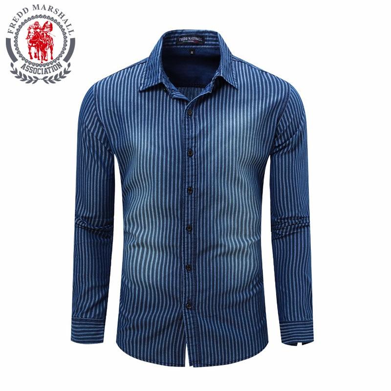 Fashion 2018 Men's Shirt Shirts long Sleeve100% Cotton Casual Washed Denim European size Male Tops Brand High Quality