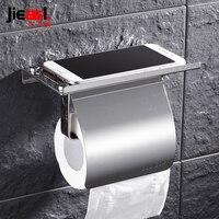 304 Paslanmaz Çelik Tuvalet Kağıdı Tutucu Raf Duvar Monteli Tuvalet Doku Kutusu Cep Telefonu Ile Rulo Tutucu Banyo Aksesuarları