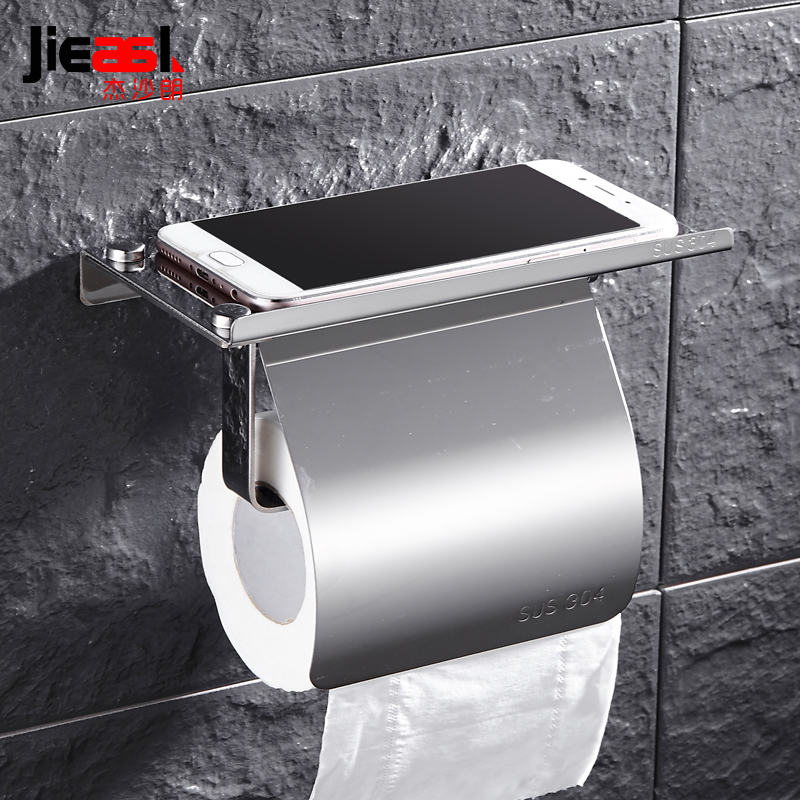 304 Stainless Steel Toilet Roll Holder Wall Mounted Toilet Paper Holder Mobile Phone Toilet Tissue Box Bathroom Accessories new bathroom toilet tissue box wall mounted roll holder stainless steel bathroom accessories toilet paper holder cobbe t82603