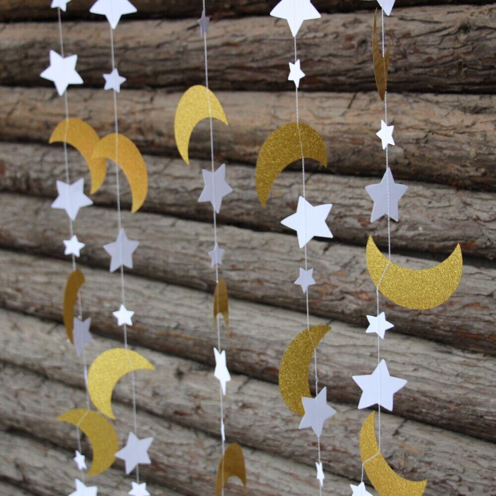 2pcs Gold Glitter Moon Amp Star Garland Twinkle Twinkle