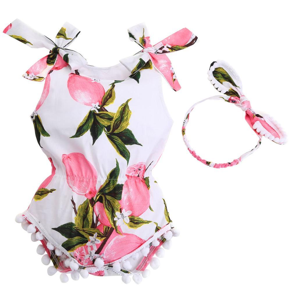 Cotton Infantil Baby Girl Romper Headband Set;Elastic Waist Newborn Baby Clothes Suit Baptism para Bebe Roupas Playsuit
