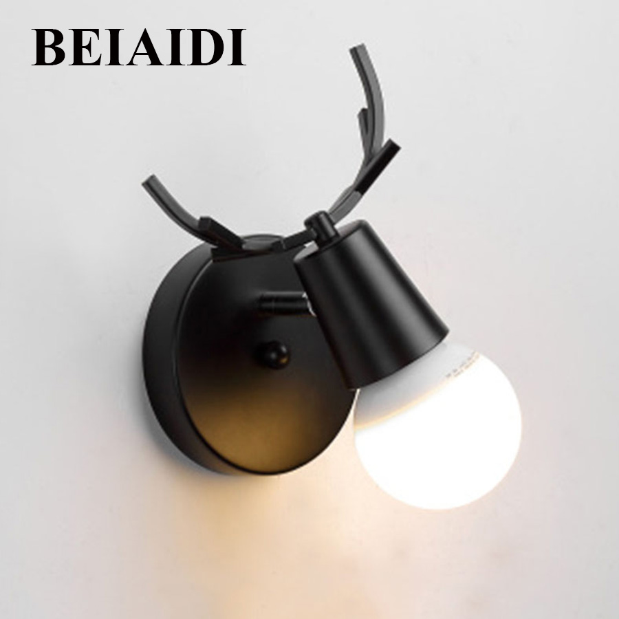 BEIAIDI E27 Nordic Antlers Led Wall Lamp Bedside Reading Light Creative Wall lamp Living Room Foyer Home Rustic Wall Light