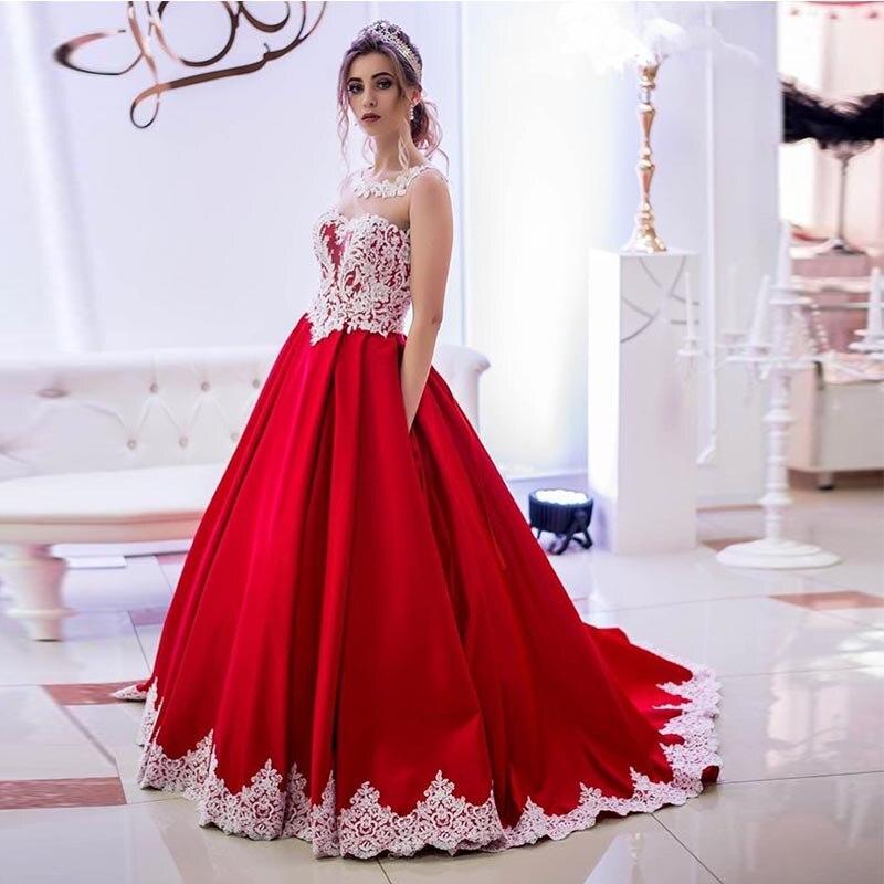 Elegant Long   Prom     Dress   With Pockets Princess A-line Red   Dress   With White Appliques   Prom   Gowns Vestido De Fiesta De Graduacion