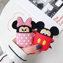 3D Cute Cartoon Silicone Stitch Mickey Minnie Bluetooth Earphone Case for Airpods 2 Accessories Protective Cover Anti-lost Strap