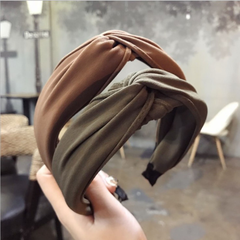 2019 New Spring Hairband Women Cotton Knotted Headband Vintage Turban Hair Accessories Wideside Knot Solid Headwear