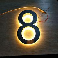 מותאם אישית נירוסטה עם תאורה אחורית 3d led דלת מספרי בית מספר-במודולים של LED מתוך פנסים ותאורה באתר