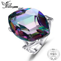 Antique Huge 30ct Rainbow Fire Mystic Topaz Concave Genuine Solid 925 Sterling Silver Ring For Women