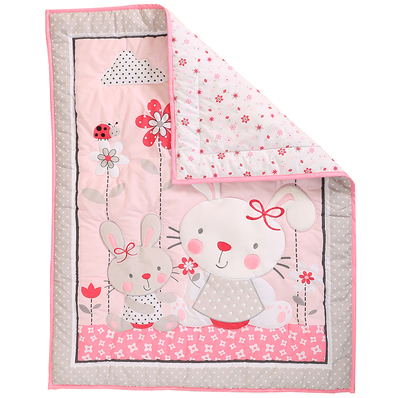 Pink Rabbit Baby Comforter Cotton Padded Blanket Bunny Cotton Baby Blanket Bed Linings Kit 33